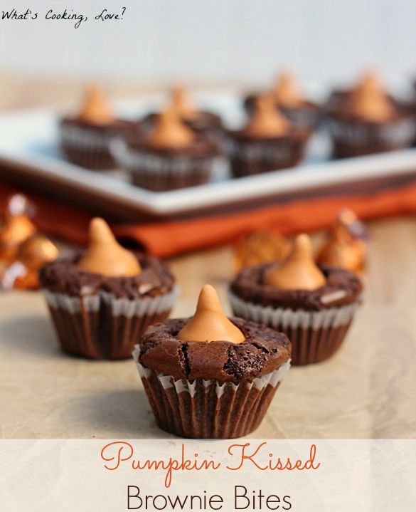 Pumpkin Kissed Brownie Bites   www.whatscookinglove.com   Easy brownies bites topped with Pumpkin Spice Hershey Kisses. There is pumpkin in every bite of brownie! #brownie #pumpkin #dessert