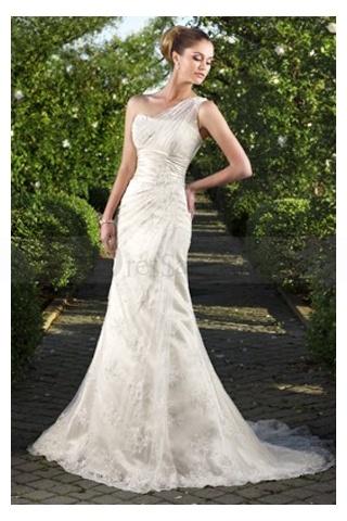 Romantic One-shoulder Floral Pleats Formal Wedding Attire