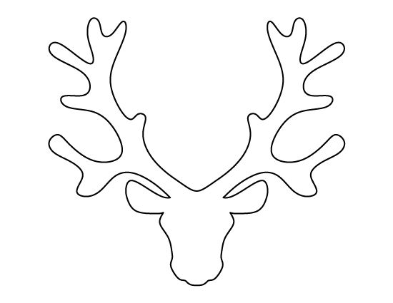Reindeer head pattern. Use the printable outline for crafts, creating stencils, scrapbooking, and more. Free PDF template to download and print at http://patternuniverse.com/download/reindeer-head-pattern/