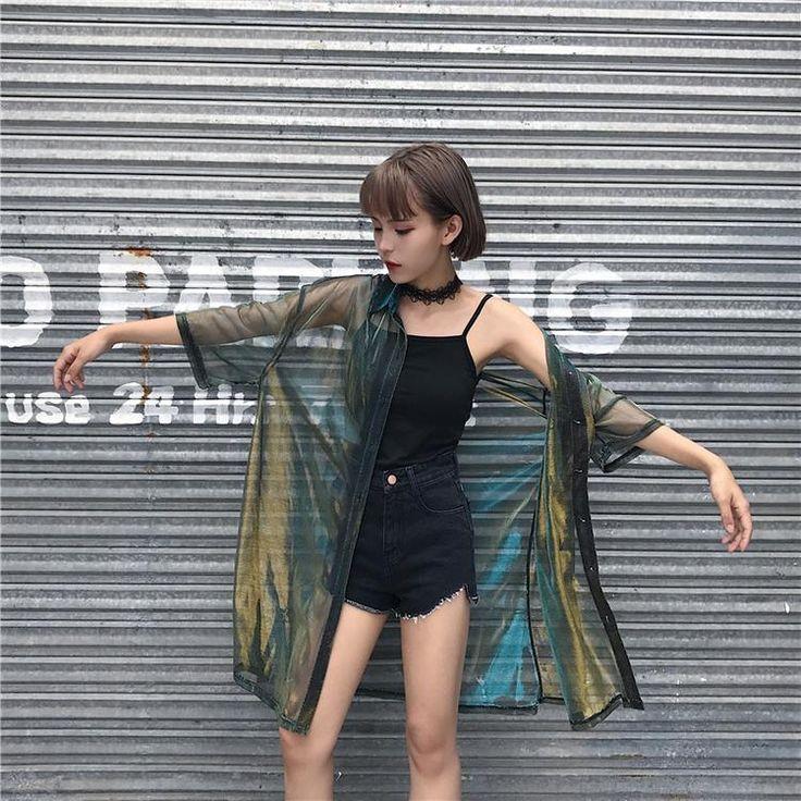 www.sanrense.com - Harajuku transparent gradient blouse jacket SE10218