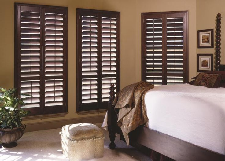 Dark Wood Plantation Shutters  Coordinate a room's wood furnishings with your window covering finish to bring the whole look together.