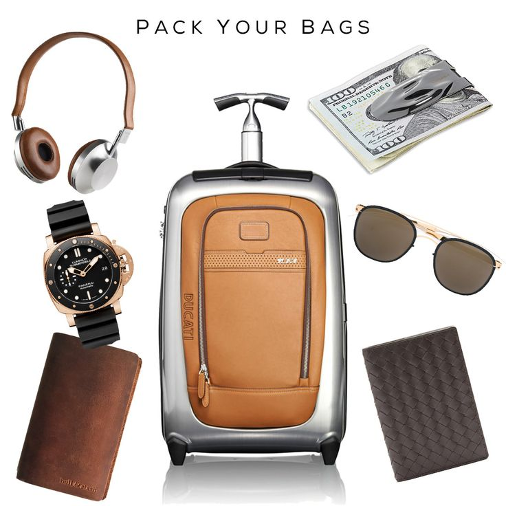 "Pack Your Bags (in style) Clockwise: ""Ducati Evoluzione"" International Carry-On by TUMI, MAKT Money Clip by SVORN, Sunglasses by MYKITA, Passport Holder by BOTTEGA VENETA, Travel Notebook by BULL & STASH, Luminor  Watch by PANERAI, VK-1 Headphones by AËDLE /#money #moneyclip #travel #luxurytravel #luxurytraveler #tumi #leather #audio #gadget #watch #dappermen #svorn #ducati #mensaccessories #mensgoods #dapper #mensjewelry #jewelryformen #mensluxury #luxury #luxuryman #mensfashion #fashion"