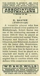 1939-40 W.D. & H.O. Wills Association Footballers #5 Robert Baxter Back