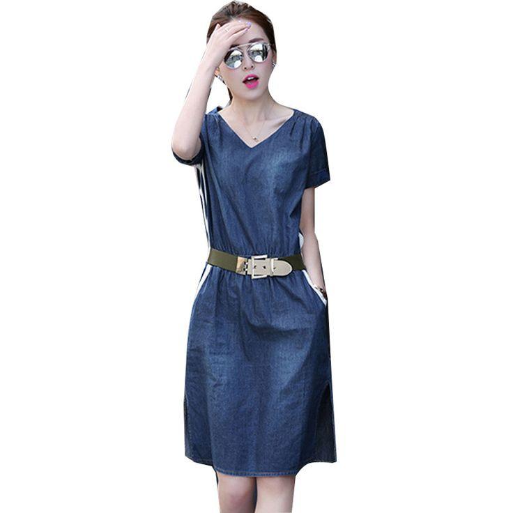 Large Size Casual Woman Denim Dress Elastic Waist Vestidos Short Sleeve Summer Beach Dress Robe Femme Knee Length Dresses C3277 #Affiliate
