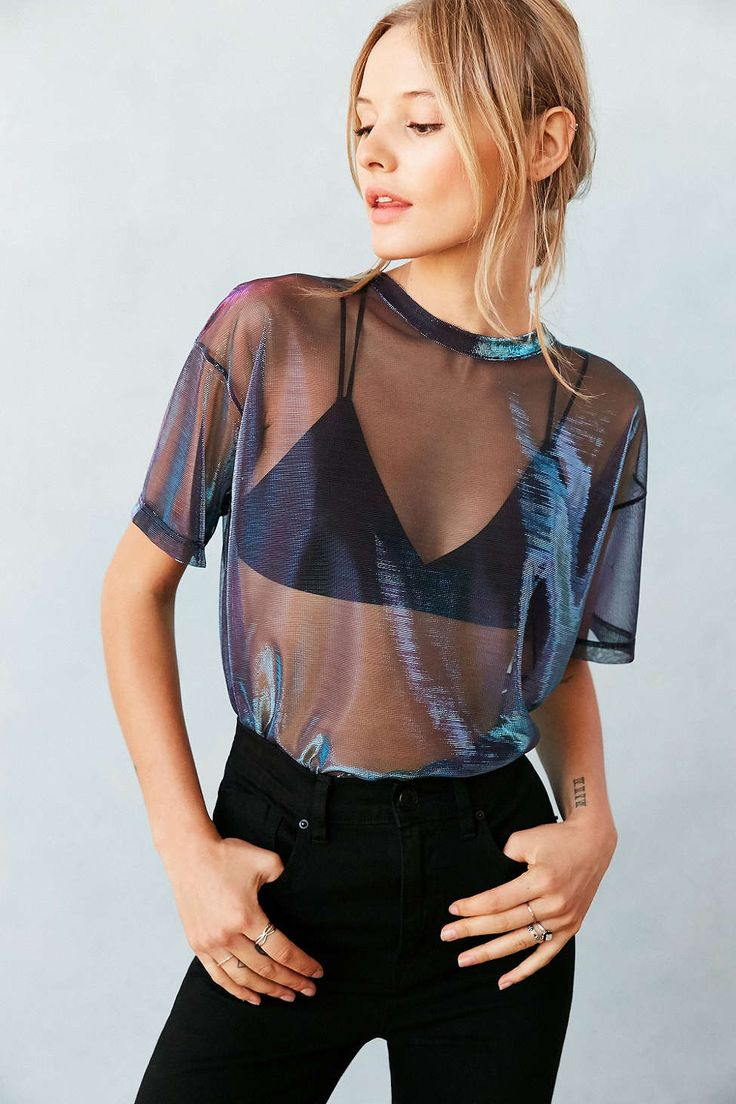 Silence + Noise Metallic Shimmer Mesh Tee - Urban Outfitters - love this but would probably wear this with a vest top