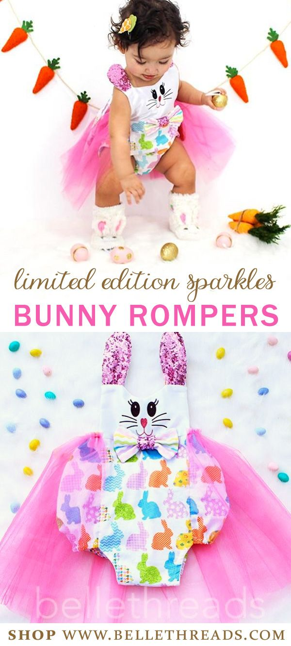 The sweetest Easter Bunny Outfit for Girls. It's a limited edition Sparkle Bunny Romper with tutu and sparkly bunny ears that stand up. The sweet bunny face is made with glitter on a white satin fabric. The Belle Threads tutu surrounds a cute bunny print cotton fabric adorned with a bow. Shop for your Handmade Easter Tutu Dresses by Belle Threads www.bellethreads.com #easter #easteroutfit #easterdress #eastersunday #littlegirloutfits #toddlereasterdress #babygirleaster