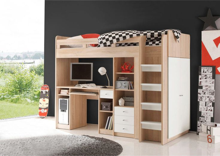 Ensemble lit mezzanine avec bureau + penderie + étagère prix promo Lit Enfant 3 Suisses 444.99 €