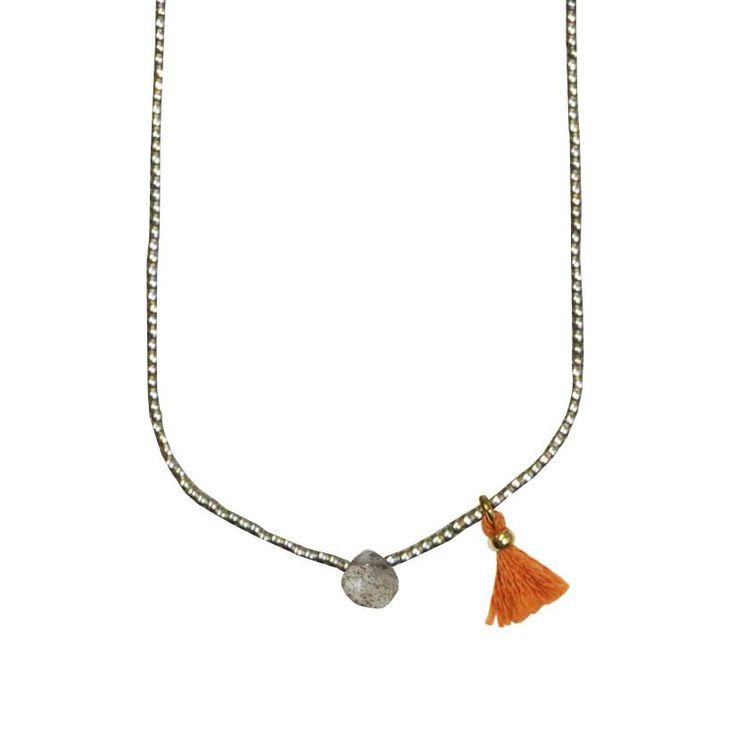 Colar com missangas miyuki e pedra (cinzento): PEDRA DURA (55€)