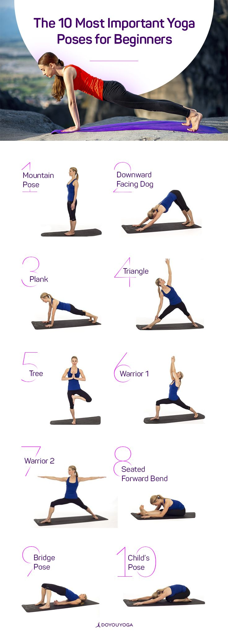 New to yoga? Check out the 10 Most Important Yoga Poses for Beginners | DOYOUYOGA.com | #yoga #yogaposes