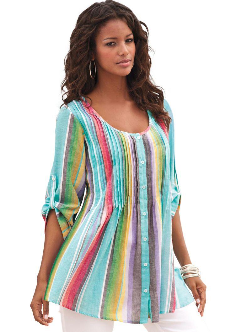 Rainbow Stripe Bigshirt | Plus Size Tunics | Roamans