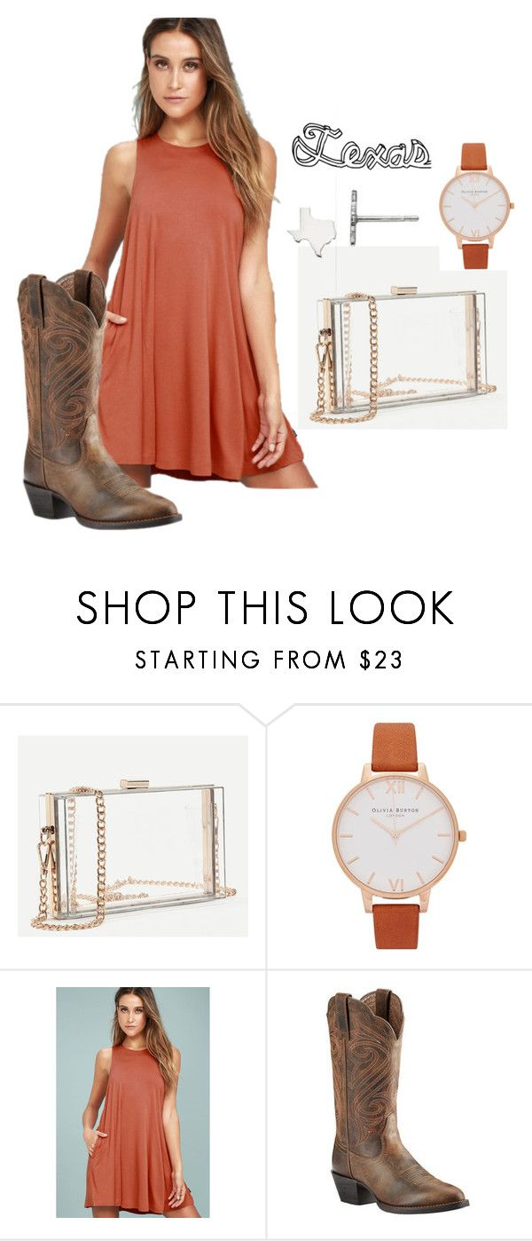 Texas Game Day ~ Simple by mackenzie-finklea on Polyvore featuring RVCA, Ariat, Olivia Burton, Boots, cowboyboots, gameday and texas