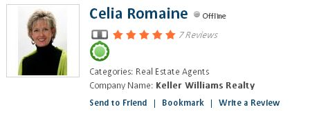Celia Romaine, Real Estate Agents  Company Name: Keller Williams Realty