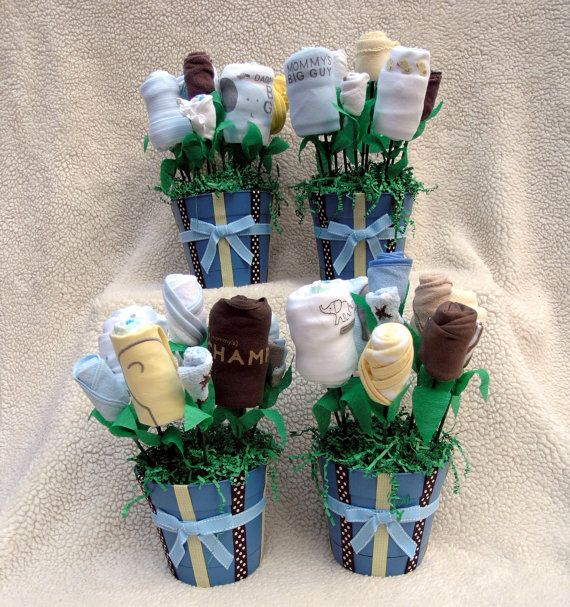 Four Baby Shower Centerpieces, Baby Shower Party Bouquets for Newborn Boy, Unique Baby Shower Decorations, Creative Baby Shower Supplies on Etsy, $200.00