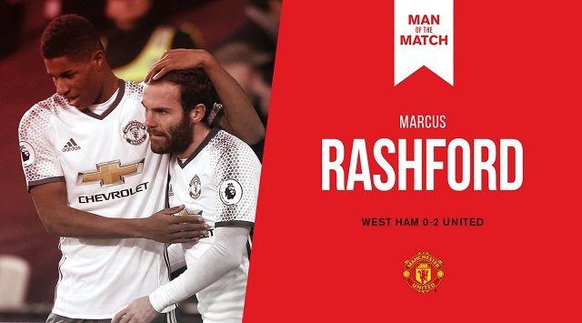 Marcus Rashford Man of the Match di Laga West Ham vs Manchester United 0-2