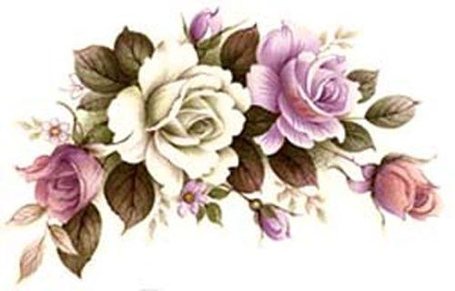 Precioso Lila Y Rosa Blanco Y Rose Guirnaldas Shabby tobogán calcomanías