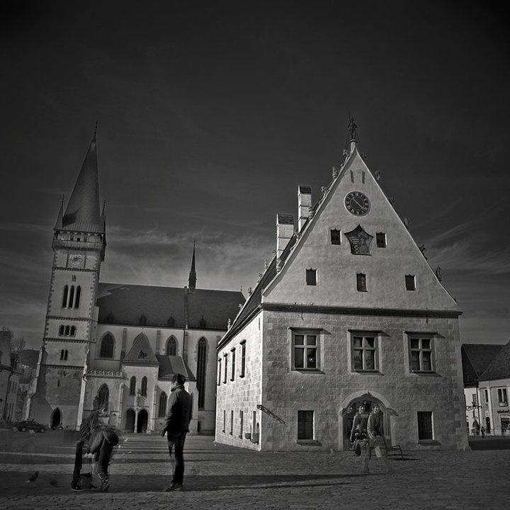 Bardejov, Town square in gray.