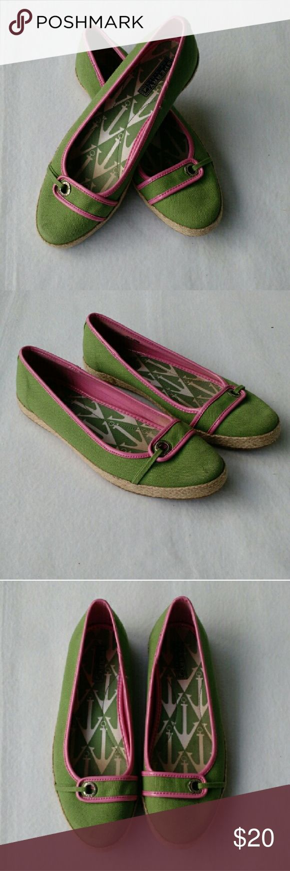 Sperry Top-Sider Pink & Green Espadrille Flats Pre-owned, but in great condition. Minimal overall wear. One small mark on the right toe that more than likely can be washed off.   Offers are always welcome!  E&T Sperry Top-Sider Shoes Espadrilles