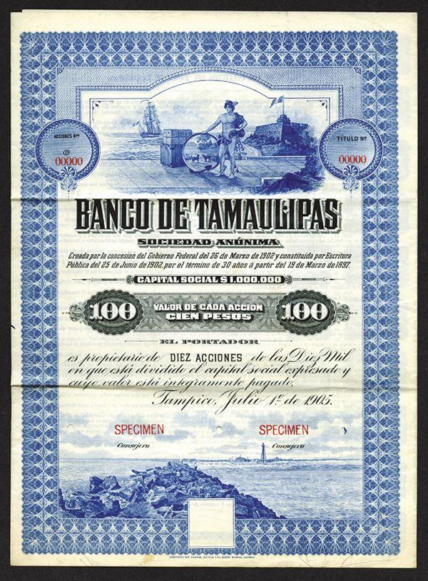 Banco de Tamaulipas, 1905 Specimen Stock Certificate. - Archives International Auctions