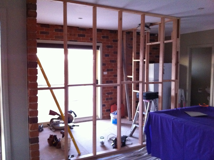 Relocated laundry being framed up in a section of the rumpus room.