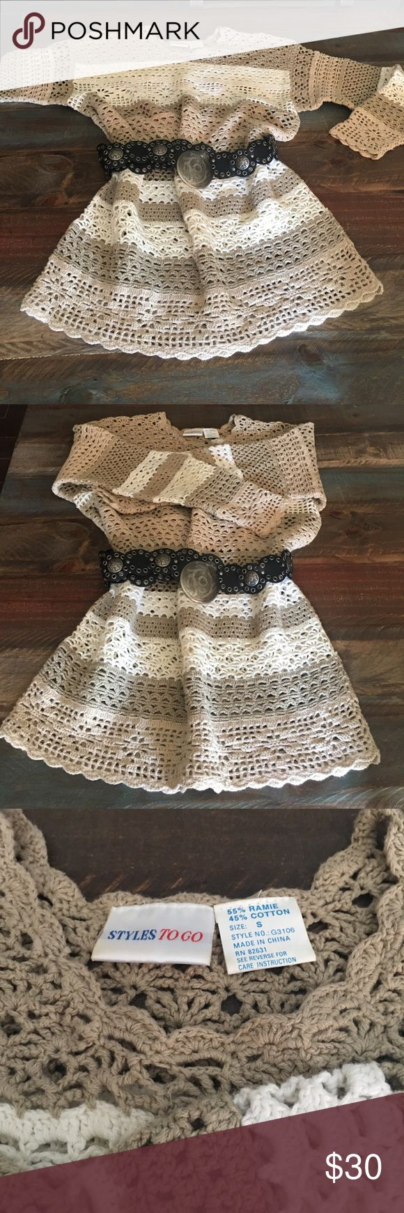 Vintage ladies Perfect condition.. hand woven,  would look great with a pair of chocolate brown leggings or even a pair of jeans. Just an all-around beautiful one-of-a-kind. Belt is not included Tops