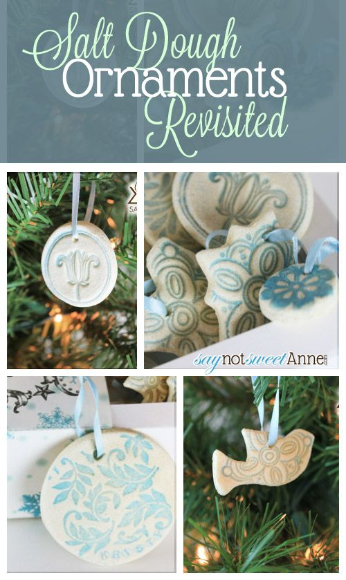 Beautiful Easy Salt Dough Ornaments  1/2 cup table salt 1/3 cup water + more for texture 1-2 tsp vegetable or canola oil 1 cup flour