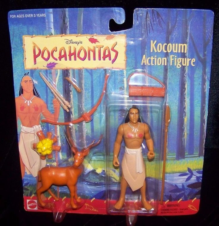 Disney Pocahontas Kocoum Action Figure with Deer PVC 1990s Vintage NIP #Mattel