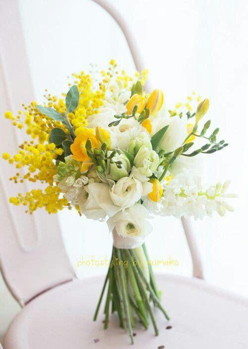 Hand Tied Wedding Bouquet Comprised Of: White Ranunculus, White Freesia, Yellow Freesia, Yellow Mimosa Flower