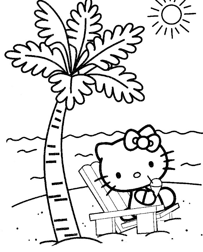 hello kitty at the beach coloring page hello kitty coloring pages kidsdrawing free - Free Coloring On Line