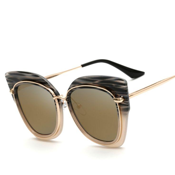 Women Big Metal PC Black Frame Sun Glasses Mirror Flat Panel Lens UV400 Sunglasses