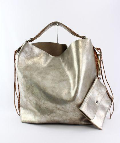 91785650b0 Ralph Lauren Silver Tan Metallic Leather Large Tote Handbag Whipstitch  Tassel