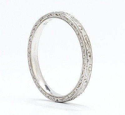 Edwardian Platinum Wedding Band, engraved scroll design...