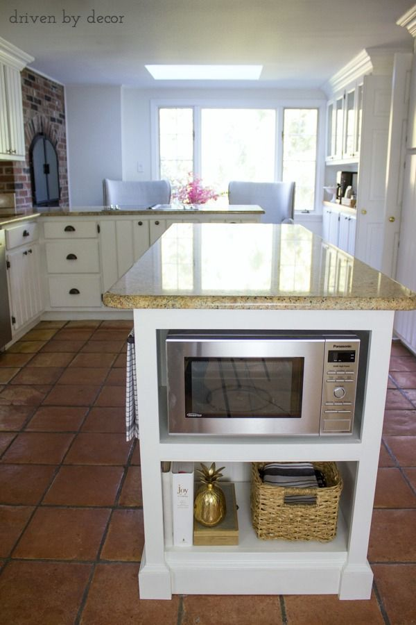 Our Remodeled Kitchen Island With Built In Microwave Shelf Kitchen Design Kitchen Island With