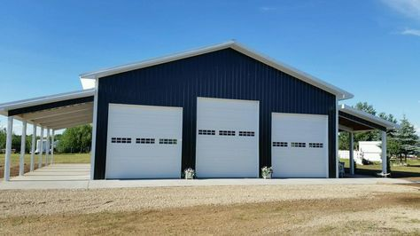 Pole Barn Style Shop With Overhang Black Amp White Metal
