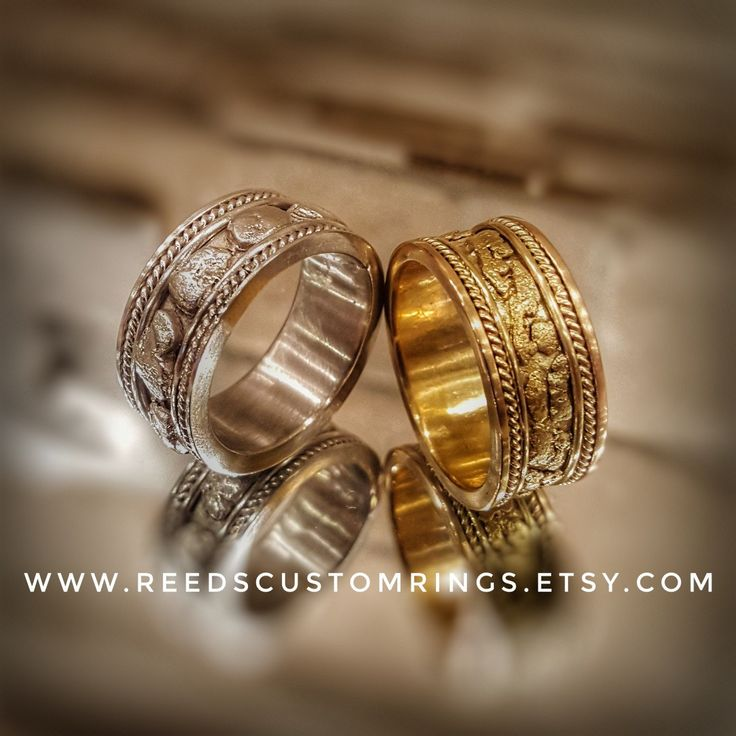 Stunning and elegant silver and gold nugget wedding bands, handmade @ www.reedscustomrings.etsy.com #goldweddingrings #goldring #goldrope #gold  #silverinlay #goldinlay #usmcvet #goldjewelry #silverjewelry #silverring #weddingrings  #coinring #skulls #steampunkstyle #goldnugget #ring #coinring #vintagering #antiquering #antiquejewelry #coinjewelry #mensjewelry #mensfashion #womensjewelry #womensfashion #etsy #etsyseller #weddingring #18kgold #18K