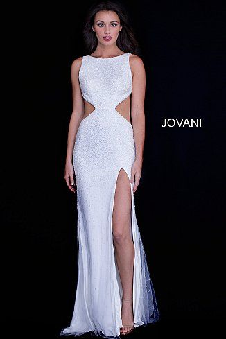 5d7a274f87 Off White Side Cut Outs High Slit Beaded Prom Dress 59655  CutOutDress   CutOuts  FormalGown  Prom  Jovani