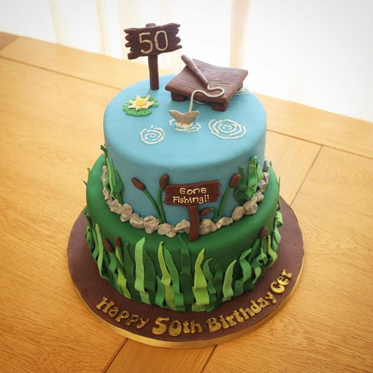 Pin by amanda glover on cort 39 s 4th birthday party for Fishing birthday cake