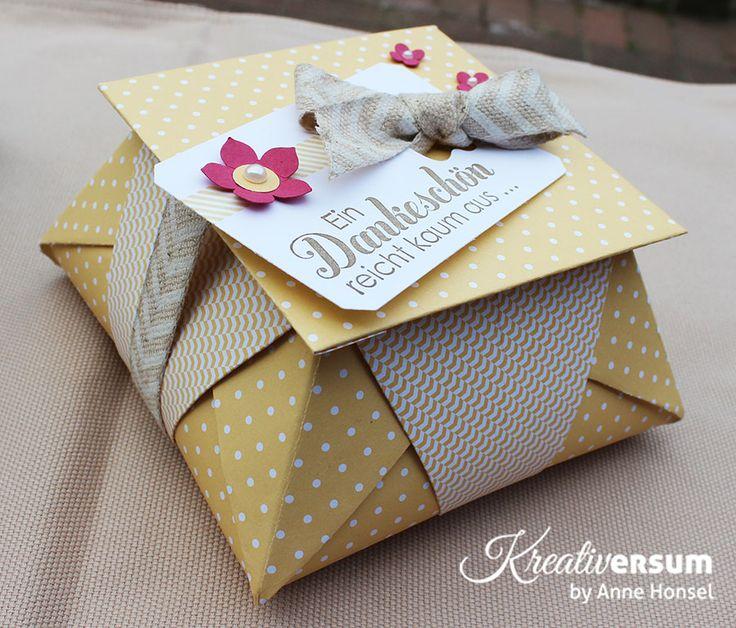 Kreativersum, Stampin' Up!, SU, Origami, Box, Verpackung, Pralinen, Danke für Jenni