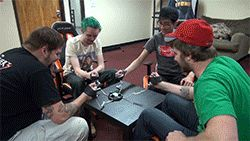 The Creature Hub: Dan, Jordan, Spencer, and Aron, playing a 'shocking' game. xD