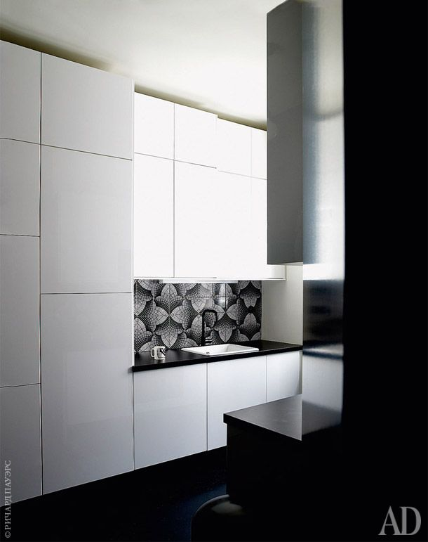 Black and white apartment in the center of Paris | Kitchen. Lockers, IKEA. Tile Bussaco on sketches Bossuet. | admagazine
