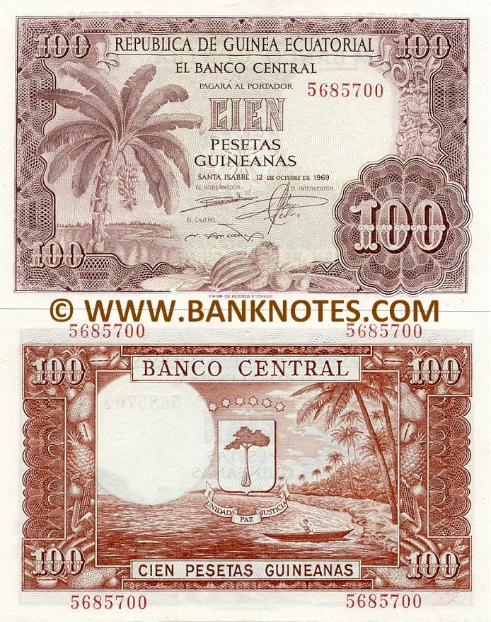 Equatorial Guinea 100 Pesetas Guineanas 1969 - Front: Banana plant. Coastline. Tropical fruits. Back: Coat of arms. Tropical shoreline with palm trees and a canoe. Watermark: Fernando Pó's head in profile. Predominant colour: Red-brown. Signatures: El Gobernador (Governor); El Interventor (Auditor); El Cajero (Cashier). Date of release: 12 October 1969. Printer: Fabrica Nacional de Moneda y Timbre (FNMT), Spain.