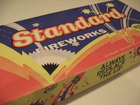 A traditional firework box in which the Catherine Whell never worked.