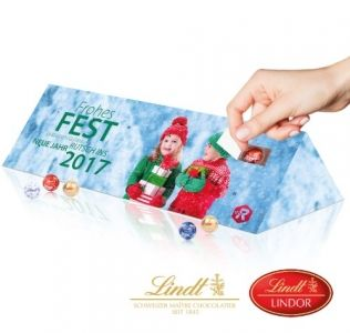 Promotional advent calendar Lindt Chocolate Advent Calendar in the shape of a triangular prism