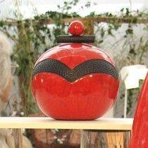 Petite boîte ronde rouge et noir céramique raku et bois flotté