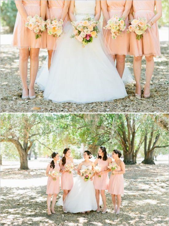 peach bridesmaid ideas http://www.weddingchicks.com/2013/10/28/soft-and-sweet-wedding/