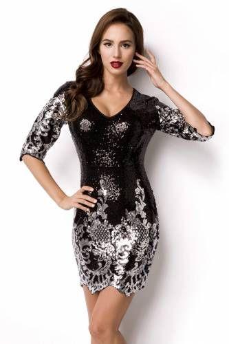 PaillettenKleid aus der myerotismo collection schwarz/silber, sexy PaillettenKleid, mit VAusschnitt und dreiviertel Ärmeln, komplett mit Pailletten bestickt, florales Muster an...
