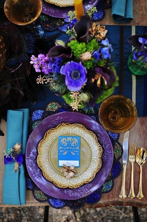 Gorgeous purple, blue & green #tablescape #design