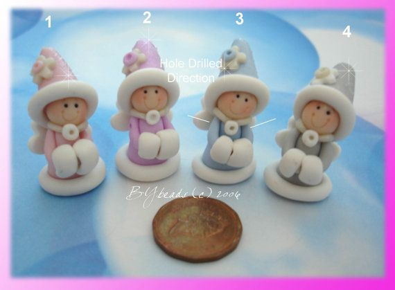 Winter Princess Polymer Clay Charm Bead by rainbowdayhappy on Etsy, $2.75