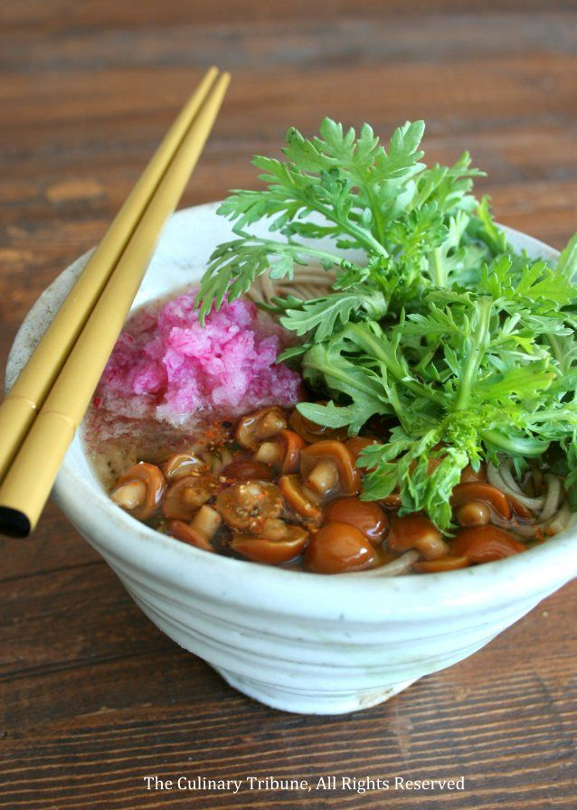 Soba Noodle Soup 春菊なめこ蕎麦 | The Culinary Tribune