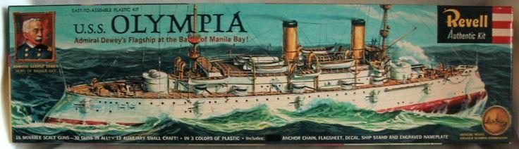 Revell 1/232 USS Olympia Flagship of Admiral Dewey at Manila Bay, H367-198 plastic model kit