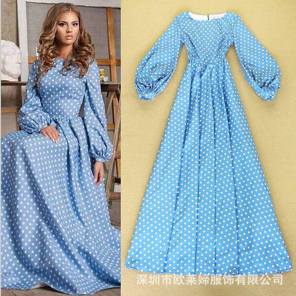 2016 весной новой европейской части россии дефиле платье элегантный фонарь рукав платья синие точки купить на AliExpress